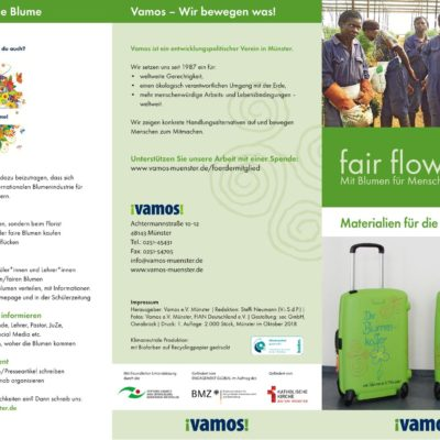 """Broschüre über die Materialien der """"fairflowers"""" Bildungsausstellung."""