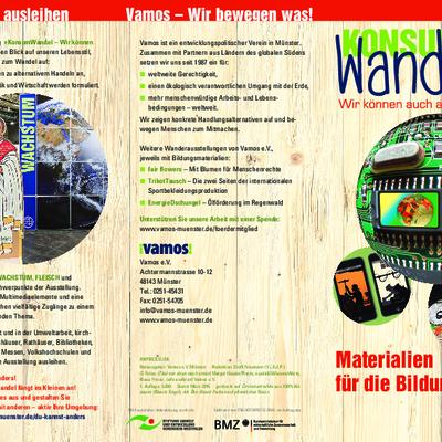 """roschüre mit Übersicht über die Materialien für die Bildungsarbeit des Bildungsmoduls """"Konsumwandel""""."""