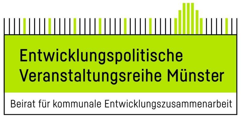 Logo der Stadt Münster mit dem Text: Entwicklungspolitische Veranstaltungsreihe Münster. Beirat für kommunale Entwicklungszusammenarbeit
