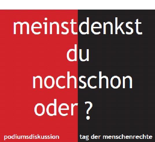 """Poster mit Schriftzug """"Meinst du noch oder denkst du schon?"""""""